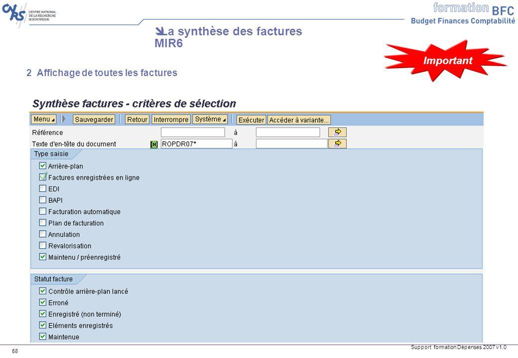 La synthèse des factures MIR6