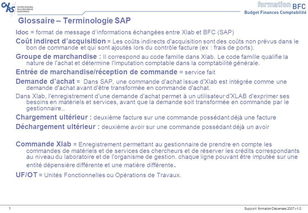Glossaire – Terminologie SAP