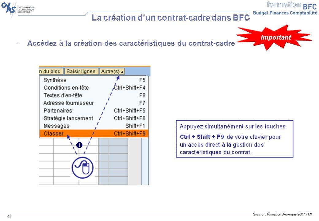 La création d'un contrat-cadre dans BFC