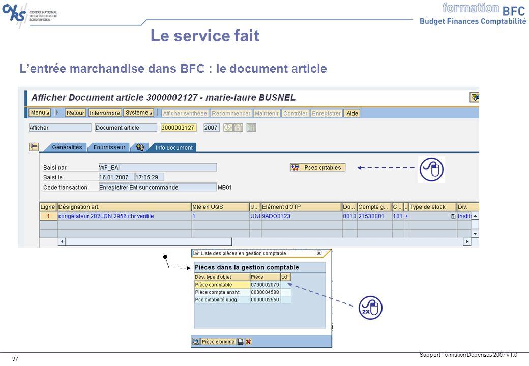 Le service fait L'entrée marchandise dans BFC : le document article