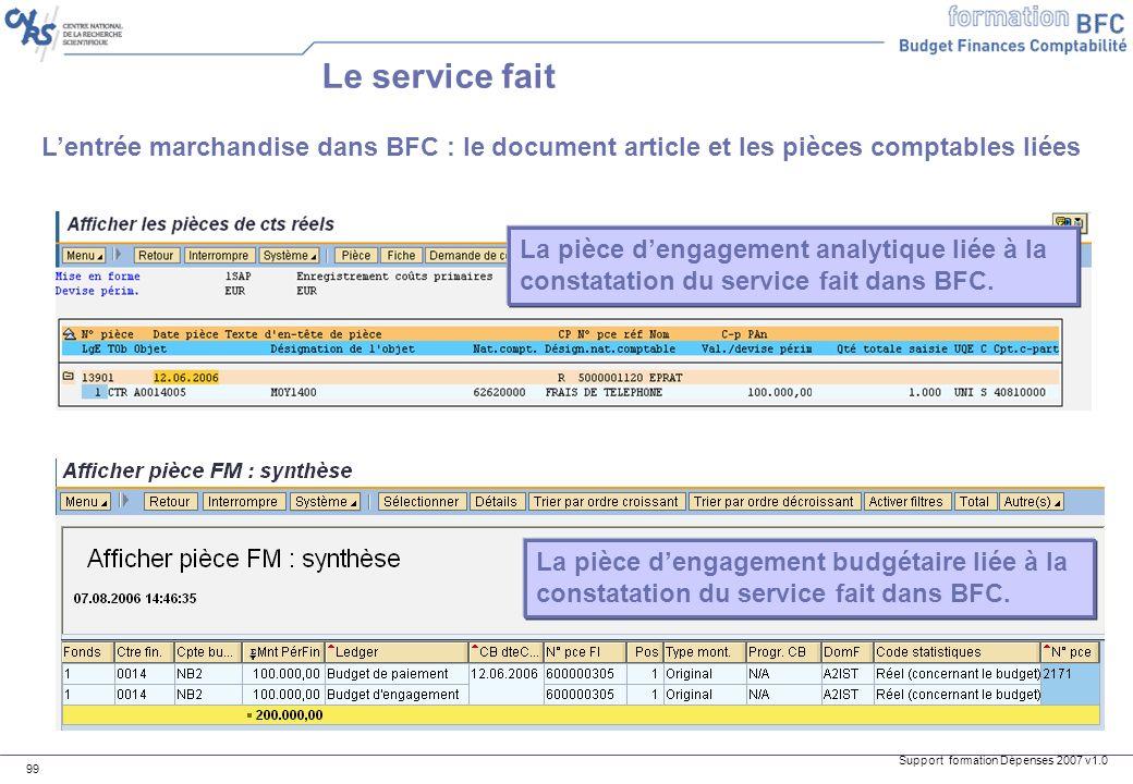 Le service fait L'entrée marchandise dans BFC : le document article et les pièces comptables liées.