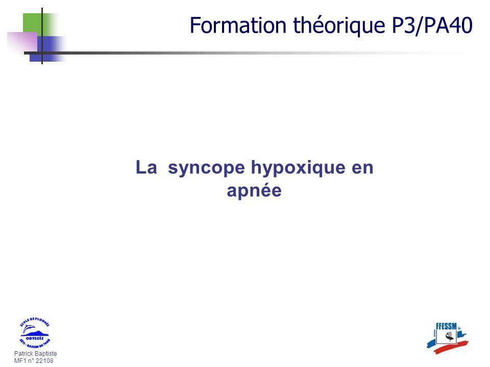 La syncope hypoxique en apnée