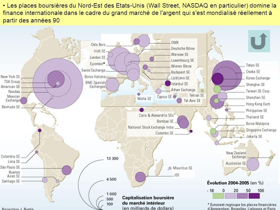 Les places boursières du Nord-Est des Etats-Unis (Wall Street, NASDAQ en particulier) domine la finance internationale dans le cadre du grand marché de l argent qui s est mondialisé réellement à partir des années 90