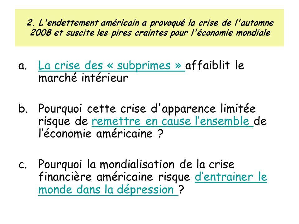 La crise des « subprimes » affaiblit le marché intérieur