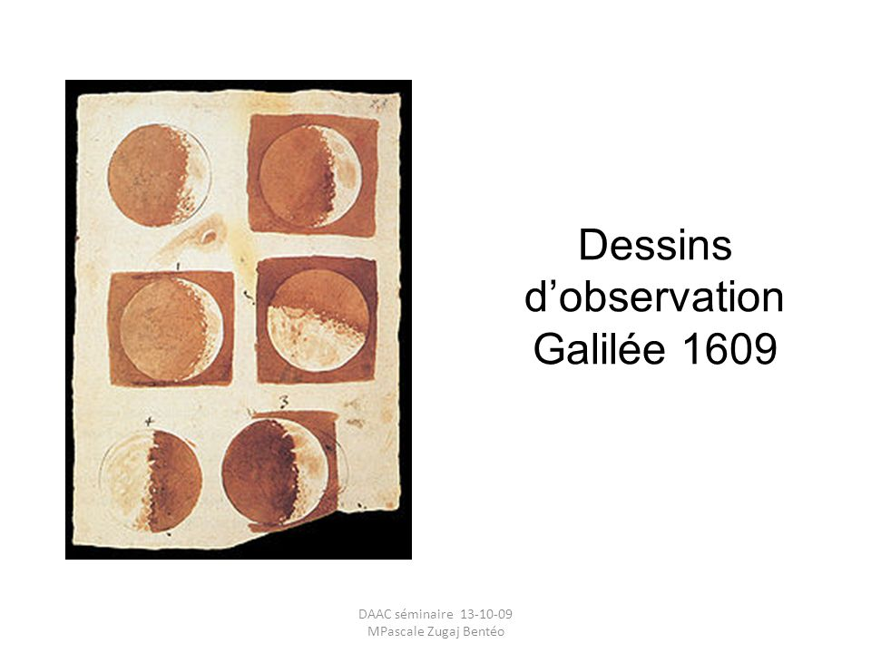 Dessins d'observation Galilée 1609