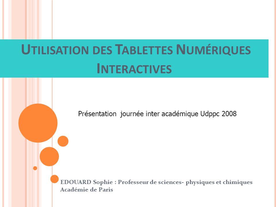 Utilisation des Tablettes Numériques Interactives
