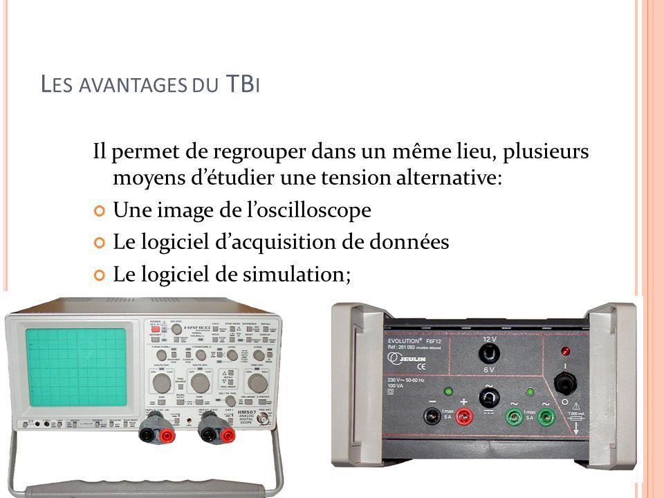 Les avantages du TBiIl permet de regrouper dans un même lieu, plusieurs moyens d'étudier une tension alternative: