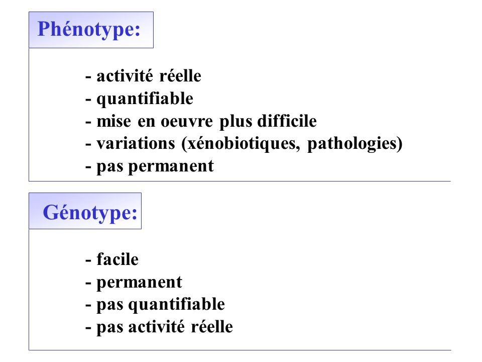 Phénotype: Génotype: - activité réelle - quantifiable