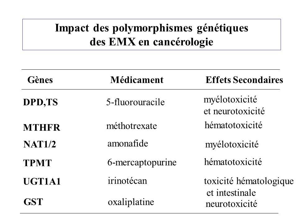 Impact des polymorphismes génétiques des EMX en cancérologie