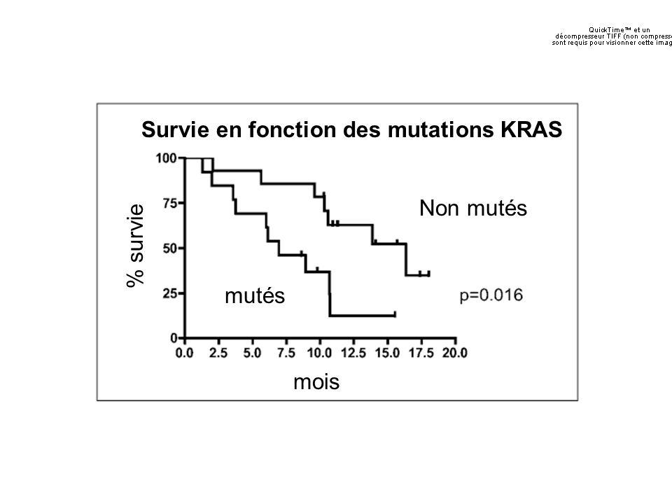 Survie en fonction des mutations KRAS