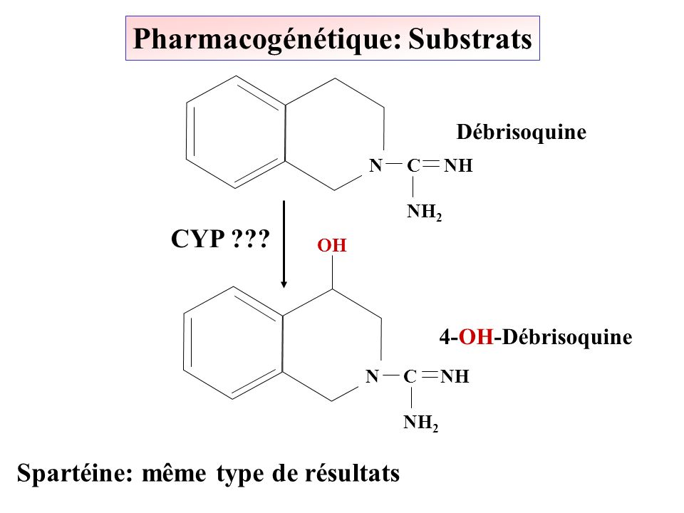 Pharmacogénétique: Substrats Spartéine: même type de résultats