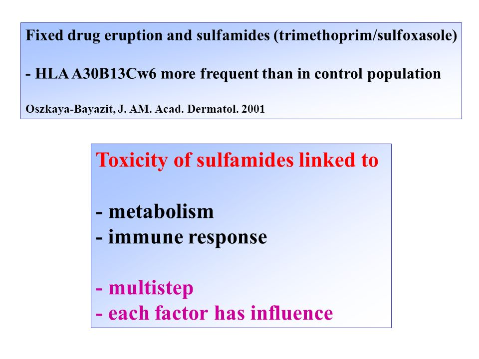 Toxicity of sulfamides linked to - metabolism - immune response
