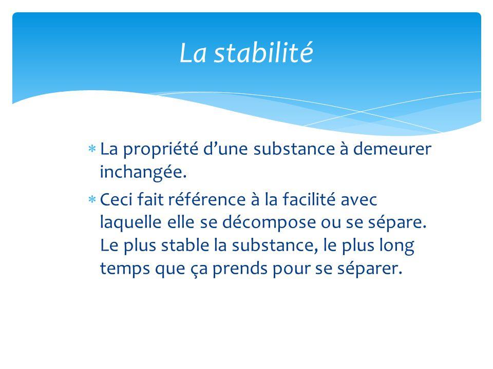 La stabilité La propriété d'une substance à demeurer inchangée.