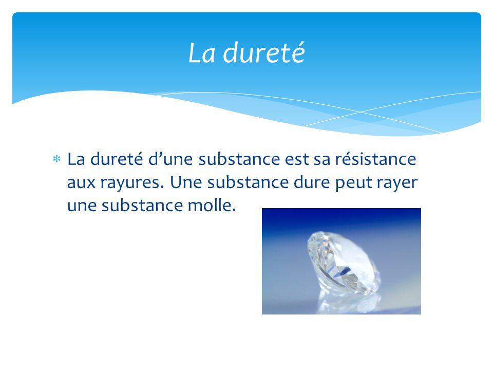 La dureté La dureté d'une substance est sa résistance aux rayures.