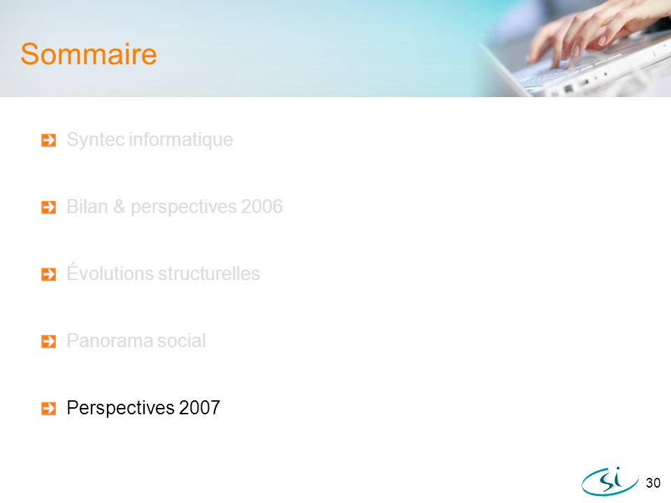 Sommaire Syntec informatique Bilan & perspectives 2006