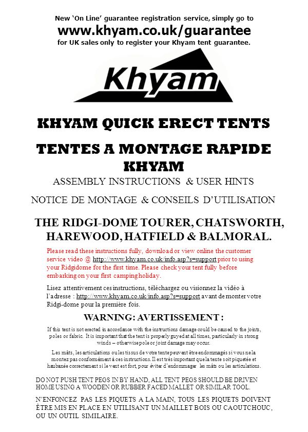 KHYAM QUICK ERECT TENTS TENTES A MONTAGE RAPIDE KHYAM
