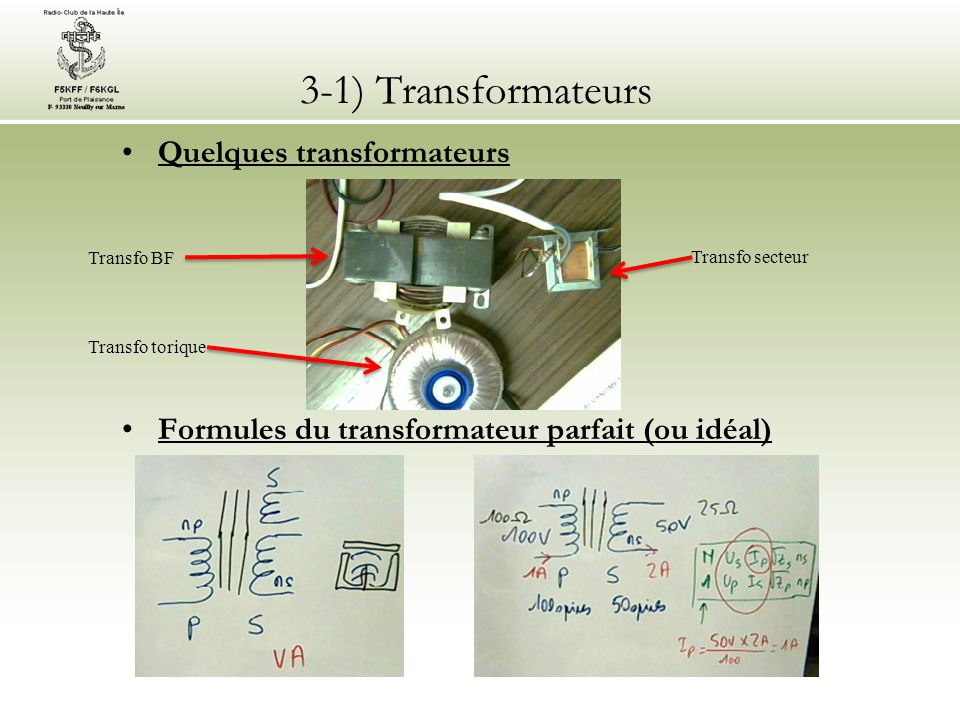 3-1) Transformateurs Quelques transformateurs