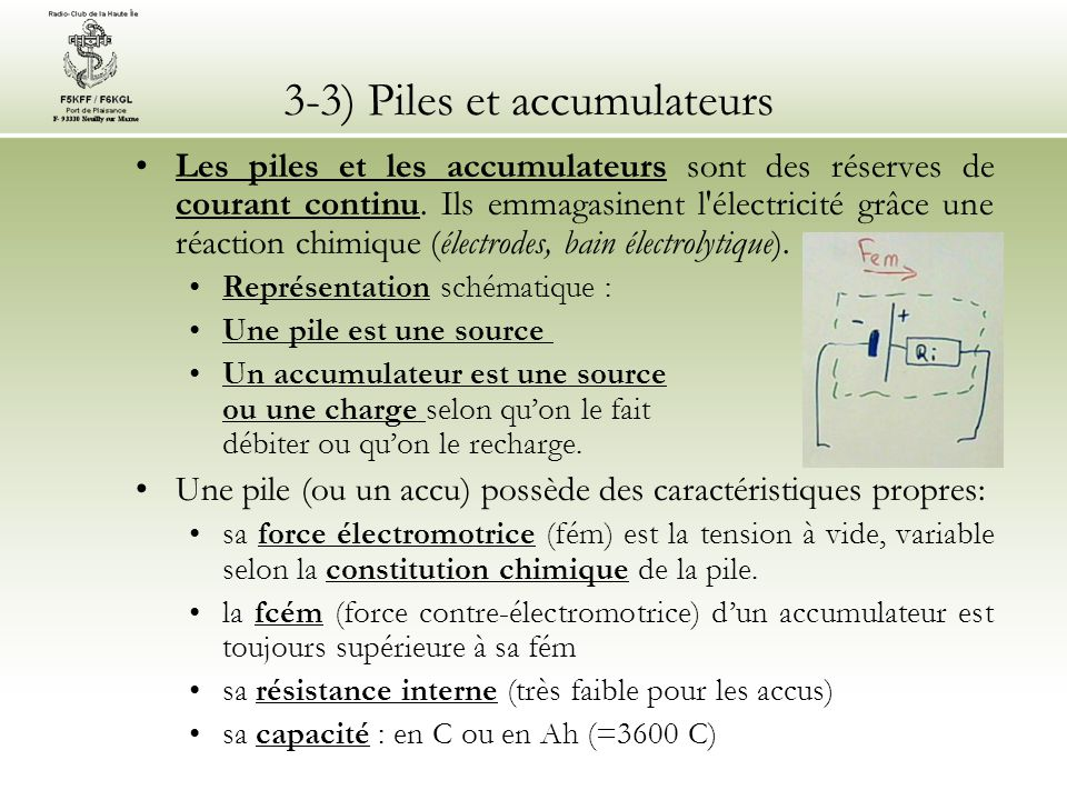 3-3) Piles et accumulateurs