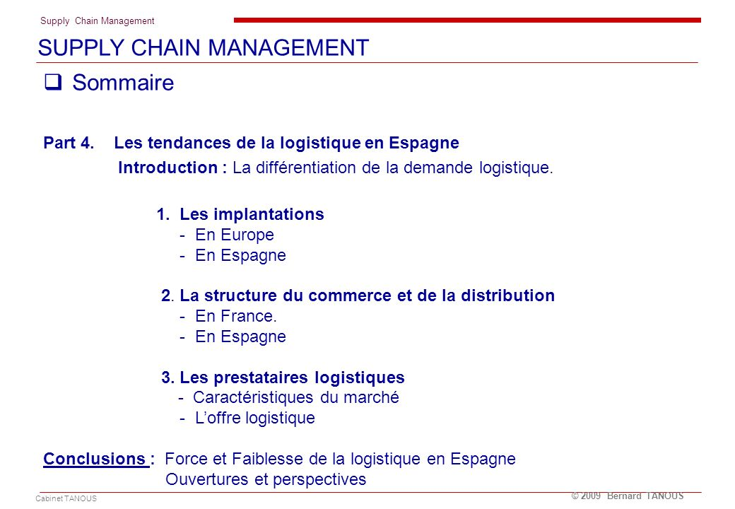 SUPPLY CHAIN MANAGEMENT Sommaire
