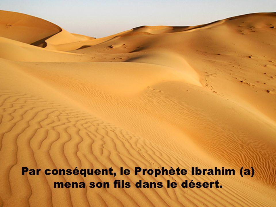Par conséquent, le Prophète Ibrahim (a) mena son fils dans le désert.