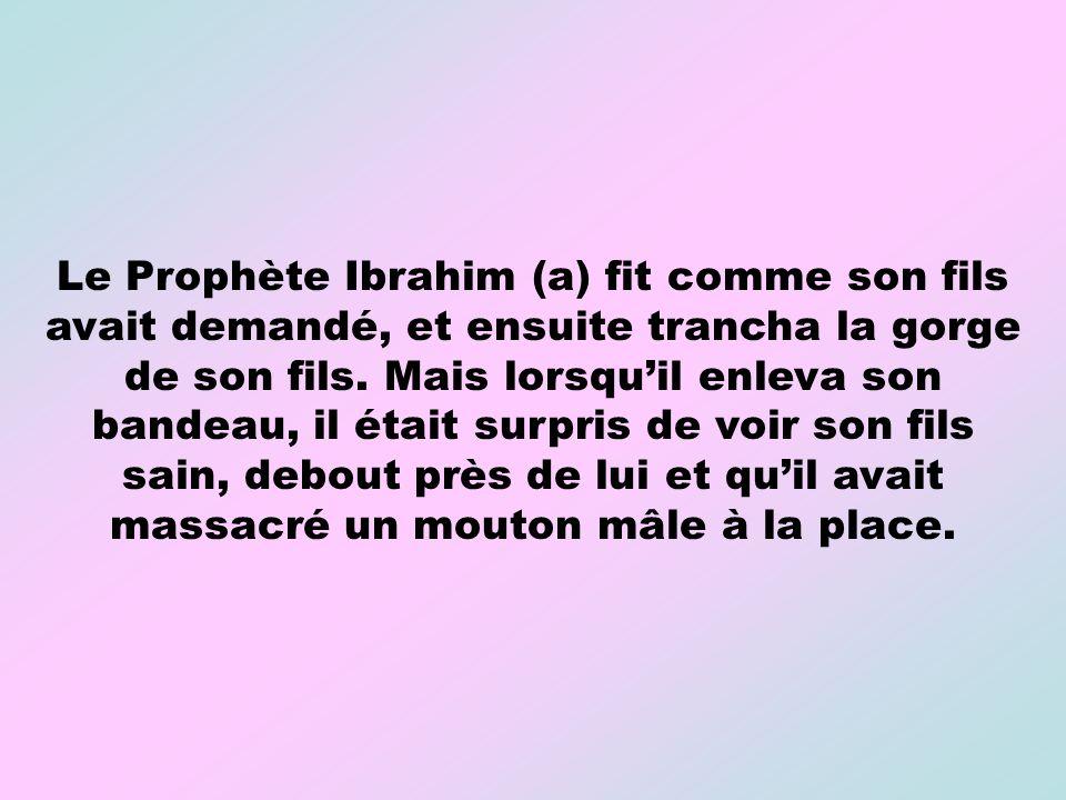 Le Prophète Ibrahim (a) fit comme son fils avait demandé, et ensuite trancha la gorge de son fils.
