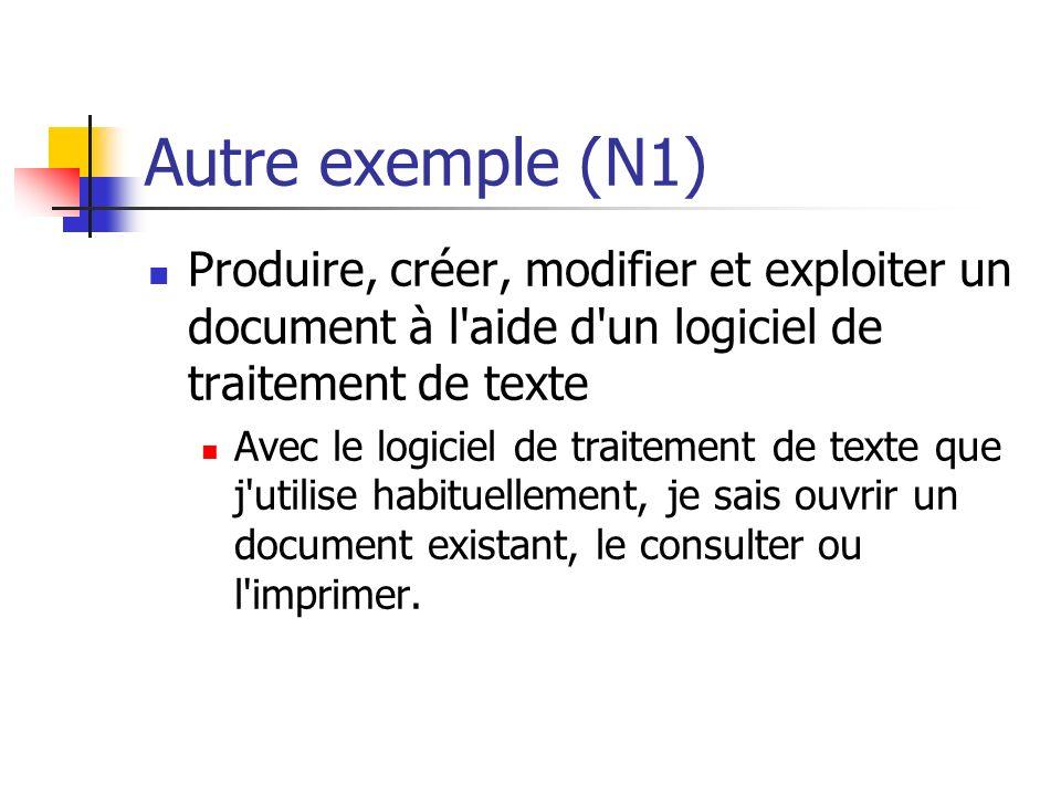 Autre exemple (N1) Produire, créer, modifier et exploiter un document à l aide d un logiciel de traitement de texte.