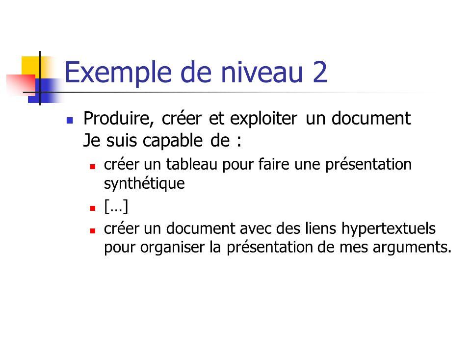 Exemple de niveau 2 Produire, créer et exploiter un document Je suis capable de : créer un tableau pour faire une présentation synthétique.