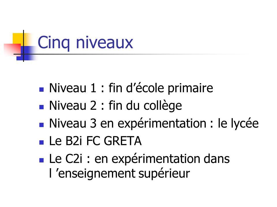 Cinq niveaux Niveau 1 : fin d'école primaire Niveau 2 : fin du collège