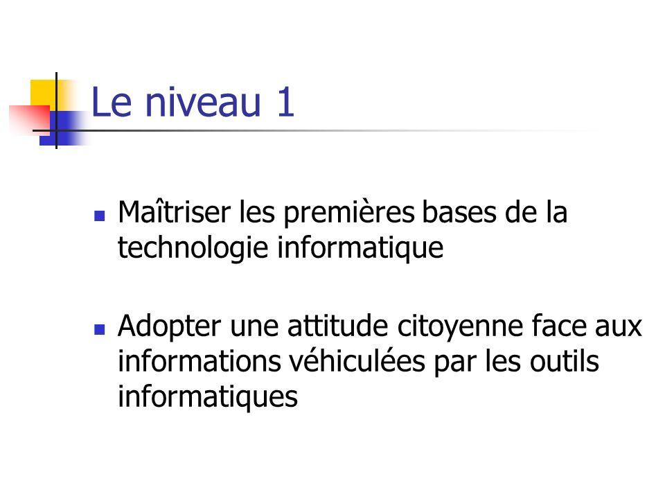 Le niveau 1 Maîtriser les premières bases de la technologie informatique.