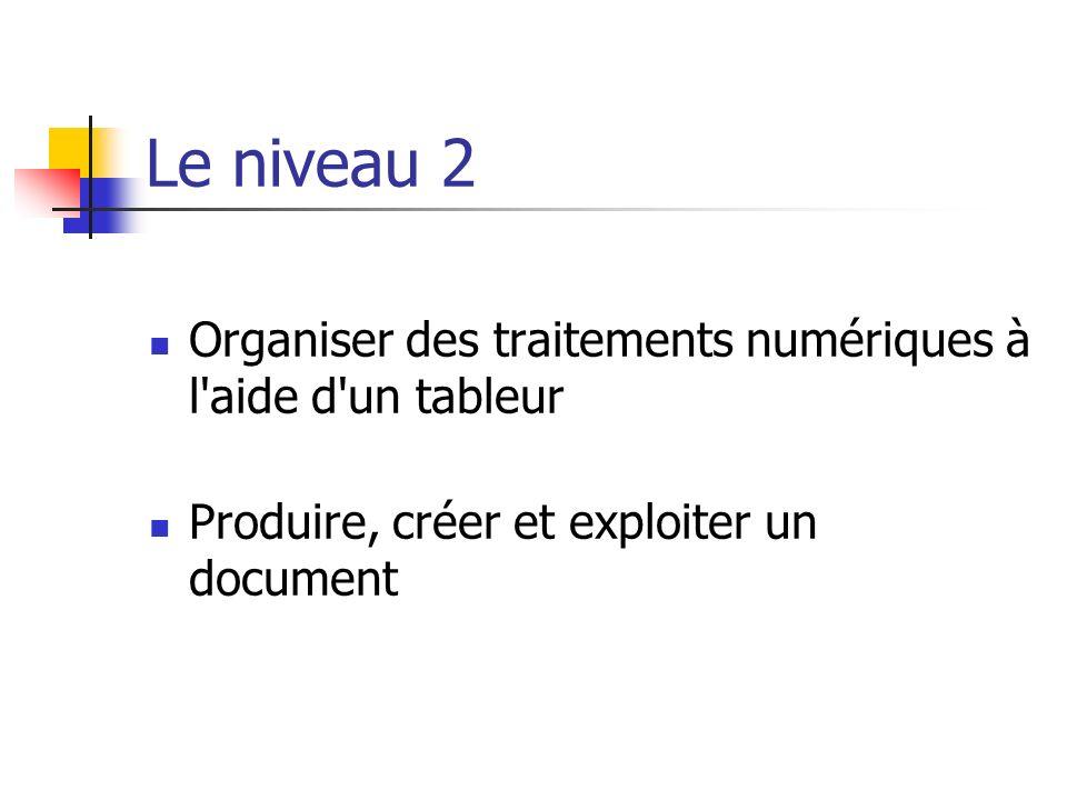 Le niveau 2 Organiser des traitements numériques à l aide d un tableur