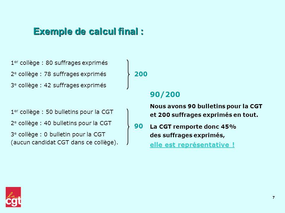 Exemple de calcul final :