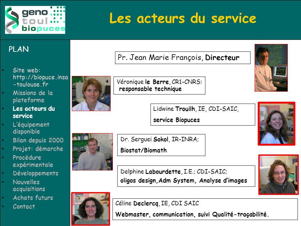 Les acteurs du service PLAN Pr. Jean Marie François, Directeur