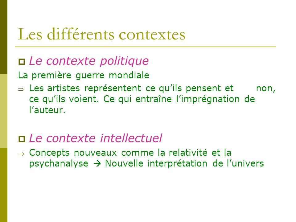 Les différents contextes
