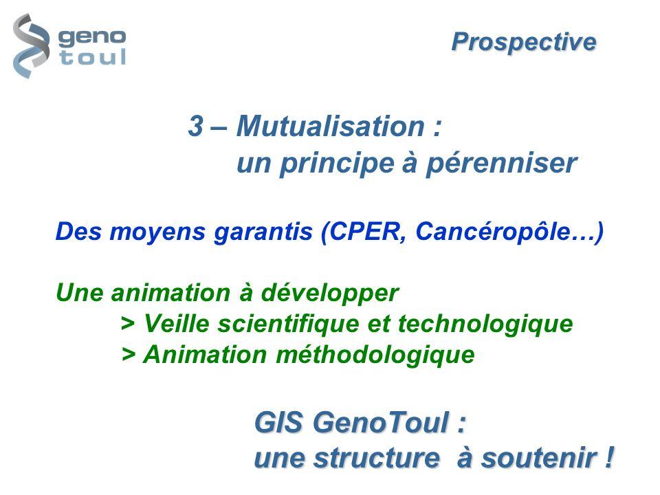 Prospective. 3 – Mutualisation :