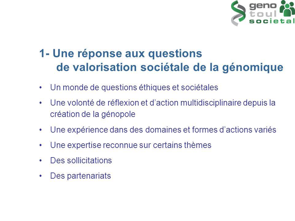 1- Une réponse aux questions de valorisation sociétale de la génomique