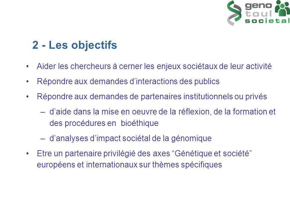 2 - Les objectifs Aider les chercheurs à cerner les enjeux sociétaux de leur activité. Répondre aux demandes d'interactions des publics.