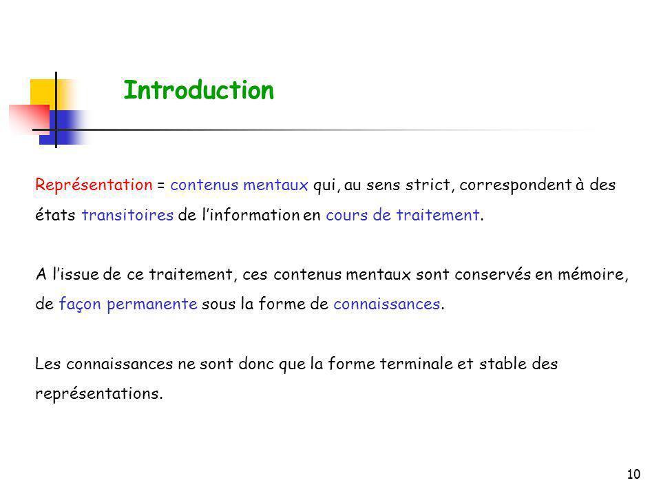 Introduction Représentation = contenus mentaux qui, au sens strict, correspondent à des états transitoires de l'information en cours de traitement.
