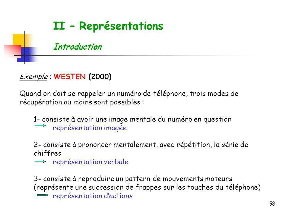 II – Représentations Introduction Exemple : WESTEN (2000)