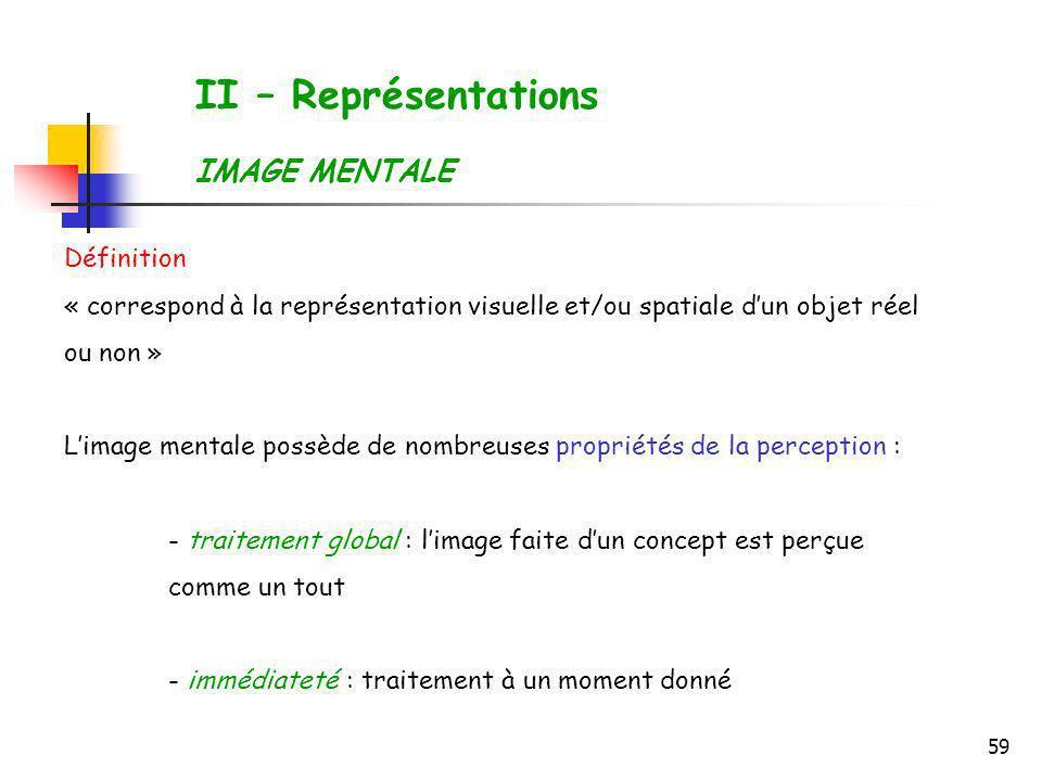 II – Représentations IMAGE MENTALE Définition