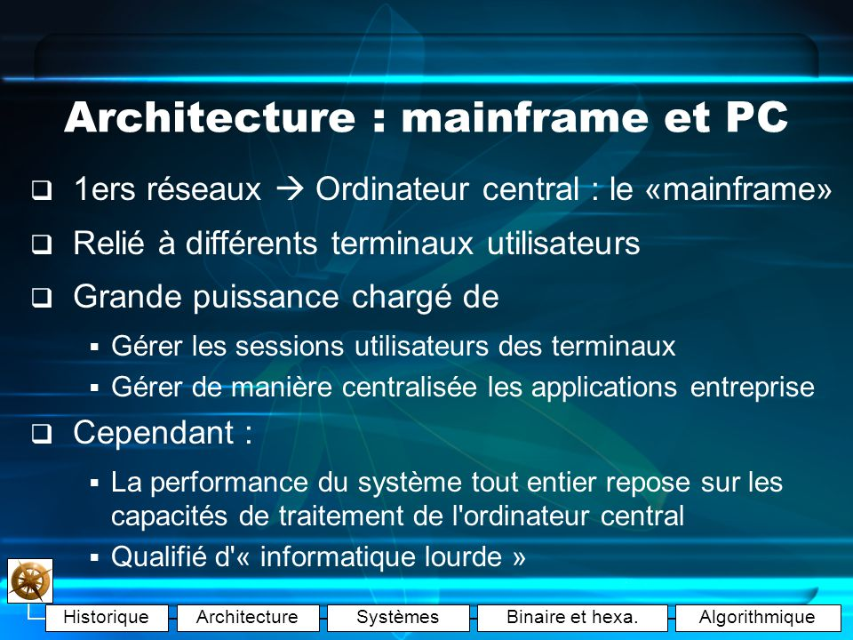 Architecture : mainframe et PC