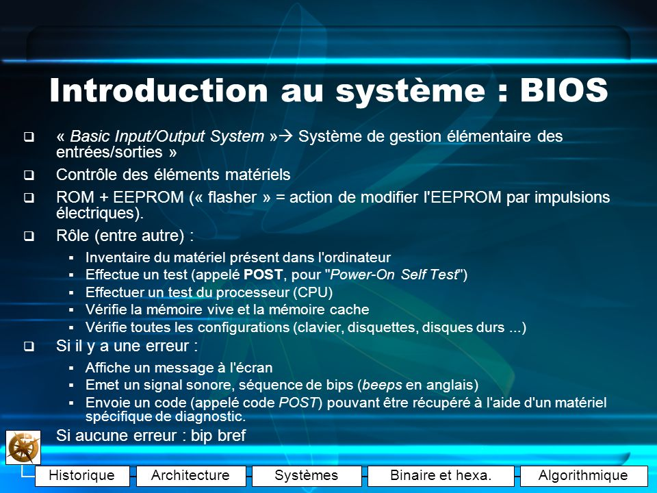 Introduction au système : BIOS