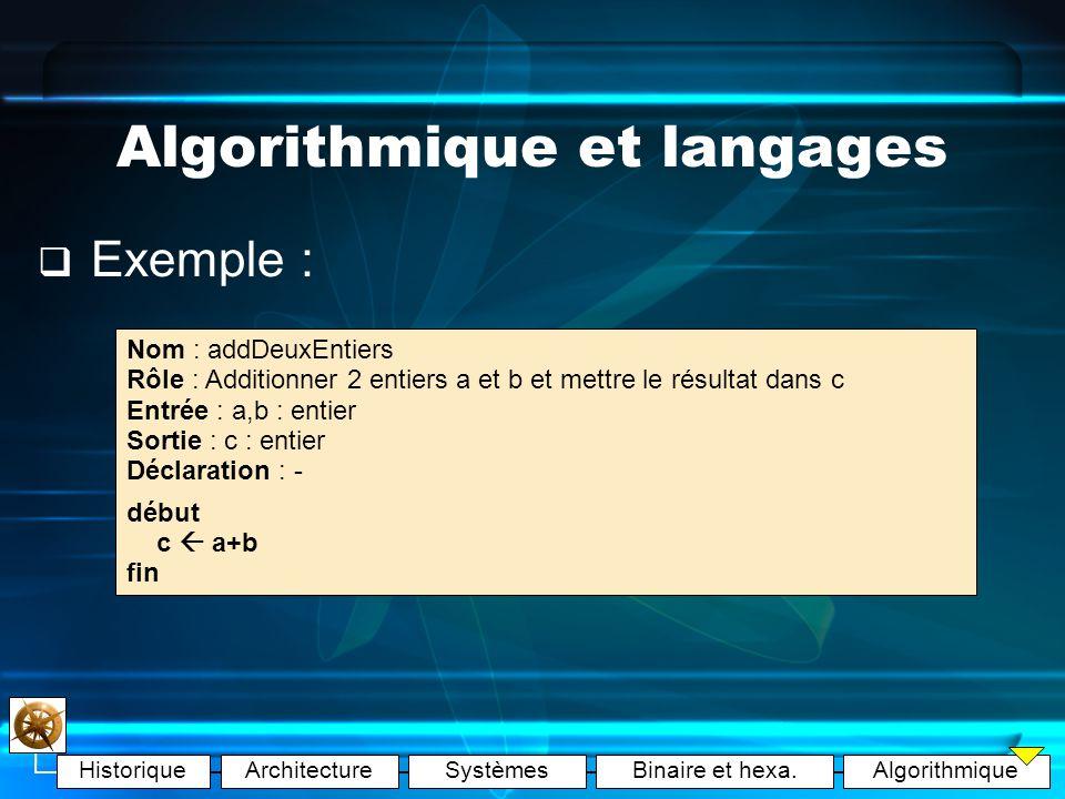 Algorithmique et langages
