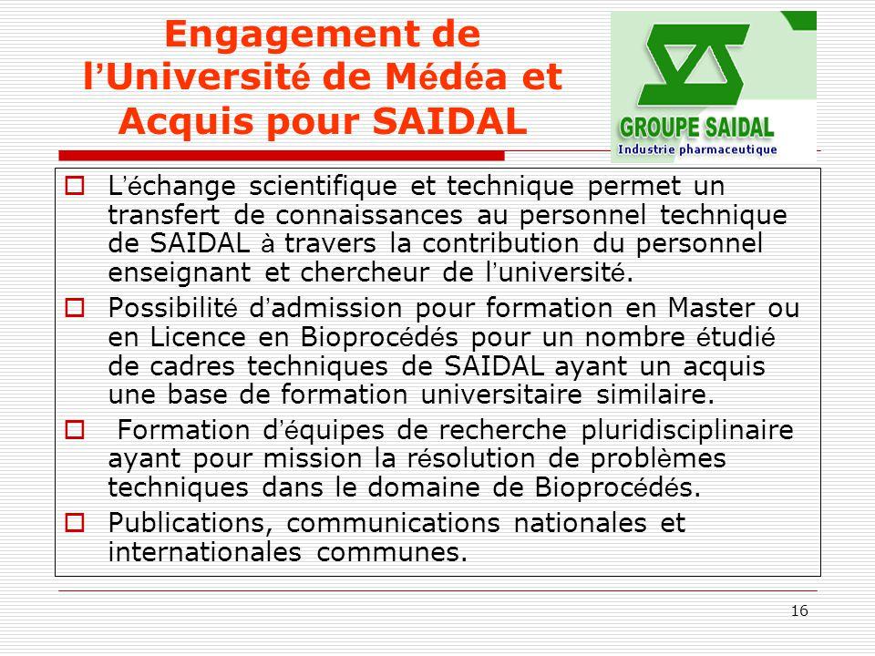 Engagement de l'Université de Médéa et Acquis pour SAIDAL