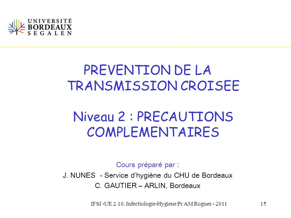 PREVENTION DE LA TRANSMISSION CROISEE Niveau 2 : PRECAUTIONS COMPLEMENTAIRES