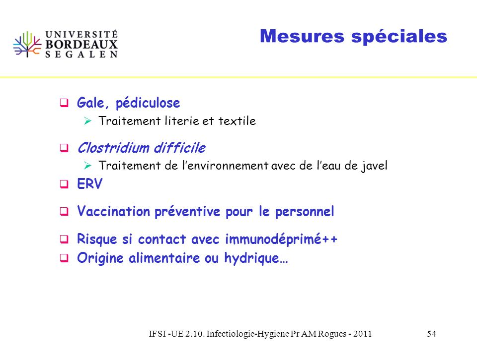 IFSI -UE 2.10. Infectiologie-Hygiene Pr AM Rogues - 2011