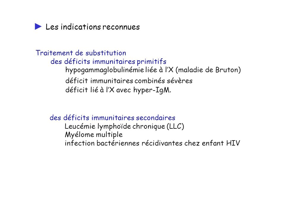 ► Les indications reconnues