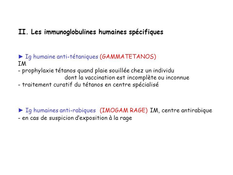 II. Les immunoglobulines humaines spécifiques
