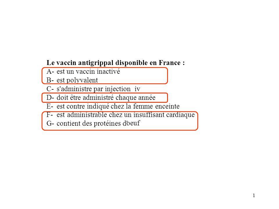 Le vaccin antigrippal disponible en France :