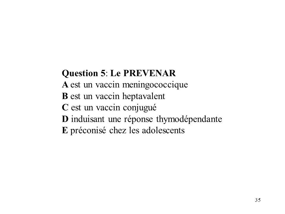 Question 5: Le PREVENAR A est un vaccin meningococcique. B est un vaccin heptavalent. C est un vaccin conjugué.