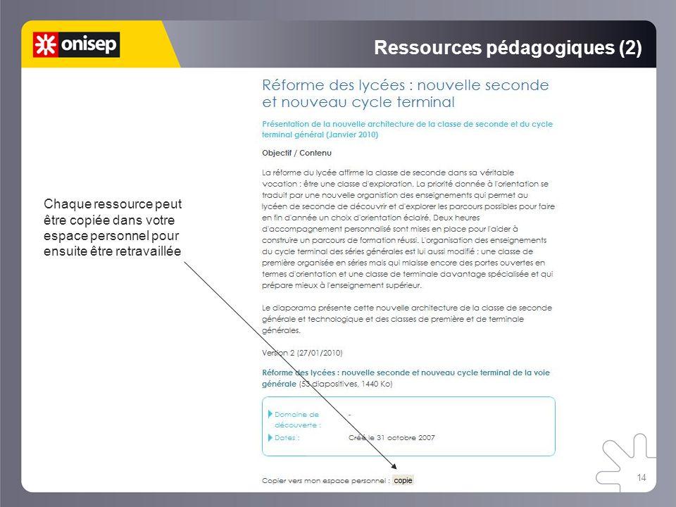 Ressources pédagogiques (2)